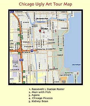 Chicago Ugly Art Tour Map